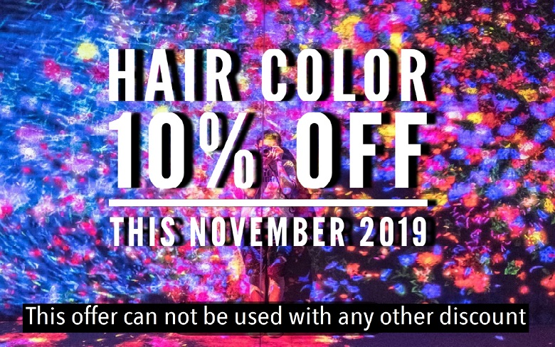 HAIR COLOR 10%OFF THIS NOVEMBER 2019
